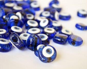 Lampwork Blue Evil Eye Beads For Bracelet or Necklace Making - Handmade Evil Eye Beads Pendant Glass Beads 14 mm Set of 10 Turkish Beads