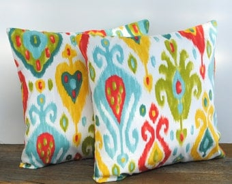 1 Ikat blue green red patterned pillow cover, cushion,decorative throw pillow, decorative pillow, accent pillow, 18x18 pillow, pillow case