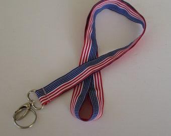 Stars and Stripes Lanyard Keychains, Cool Lanyards for Keys, Id Badge Holder Necklace Lanyards, American Flag Lanyard, Patriotic Lanyard