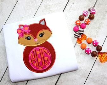 fox shirt for girls toddler girls fall shirt Fall shirt for toddler girl monogrammed fall fox shirt pink brown orange shirt for girls