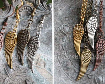 Earrings or necklace: 2-sided Wing- silver, gold, copper, or bronze