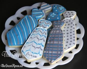 18 (1 and 1/2 dozen) Neck Tie Decorated Sugar Cookies