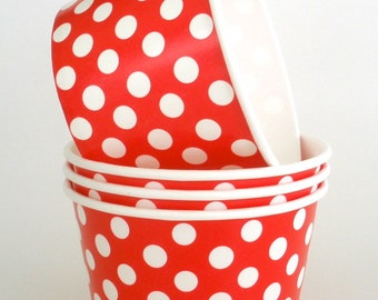 Ice Cream Cups Yogurt Cups 12 Red Polka Dot Paper Cups, 8 oz. Paper Snack Cups Candy Cups Fruit Cups Cold Cups Hot Cups