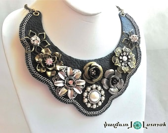 Statement Bib Leather NECKLACE Unique and Handcrafted. Metal flowers, chains. Vintage, Wedding, Evening, Fashion, Trendy,  Lusnyak Designs