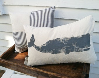 Whale Pillow - nautical pillow, nautical decor, whale decor, sperm whale, Nantucket whale
