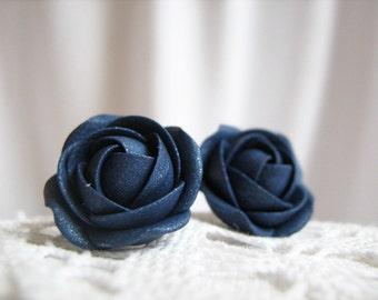 Polymer clay earrings - Navy blue sparkle rose flower stud earrings
