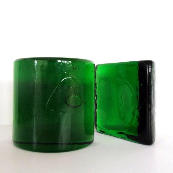 Blenko Half Moon Bookends Green Amber Mid by MothEatenDeerHead
