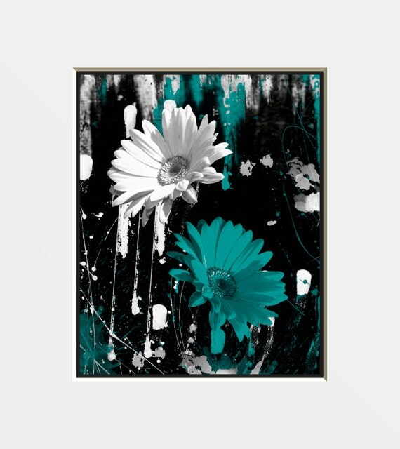 Teal Flower Wall Decor : Black white teal wall art photography daisy flower modern