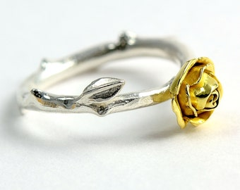 Gold Rose Ring - 18ct Eco Gold Flower Ring - Silver and Gold Flower Jewellery - Gift for Her