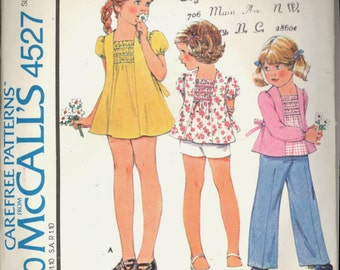 1970s Toddlers Mini Smock Dress Top Pants Shorts McCalls 4527 Breast 23 Girls Vintage Sewing Pattern