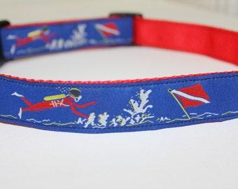 "Scuba Diver Dog Collar- Adjustable 1"" Wide"