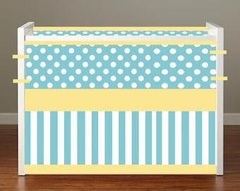 Crib bedding Baby Bedding Crib Set- Aqua polka dots and Yellow stripes