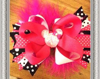 Minnie Mouse Stacked Bow - Pink and Polka Dots