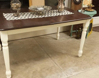 Beautiful Dining Table With Dark Stained Top Legs Painted