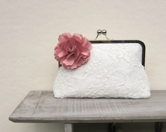 Lace bridal clutch bag, ivory wedding clutch with dusky pink flower, pink bridesmaids clutch, pink floral clutch, uk clutch, bobbie massey
