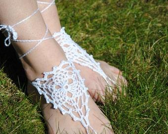 Barefoot sandles, WHITE sandals, Wedding beach, party crochet sandals, foot jewelry, leg decoration shoe, hippie sandals, women sandals