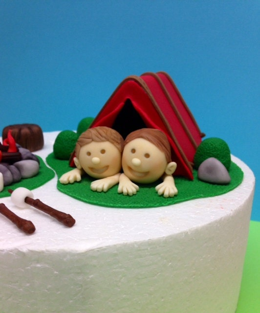 Fondant Camping Cake Topper Camping Birthday by CherryBayCakes