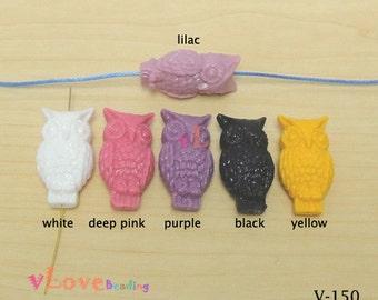 Resin Double Side Owl Beads x 6 pcs (V-150)