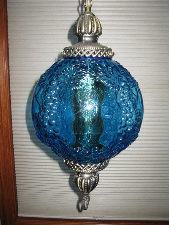 rare aqua blue glass swag lamp grape cluster design retro lighting. Black Bedroom Furniture Sets. Home Design Ideas
