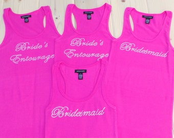 4 Brides Entourage Tank Top. Maid of Honor. Bridesmaid. Wedding Party  Tank Tops. Bride Tank. Bachelorette.