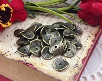 Antique Bronze Wavy Disc Spacer Beads, 9.5x8.5mm, 50 Beads, Brass