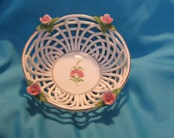Vintage Lavante basket weave porcelain bowl / candy dish