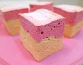 Strawberry Banana Marshmallows - 1 dozen Gourmet homemade marshmallows