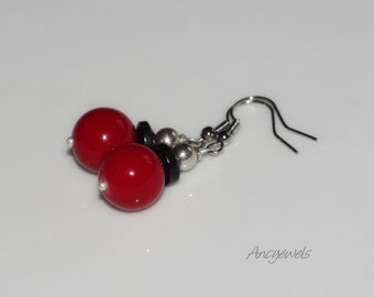 Earrings black & red / coral and hematite