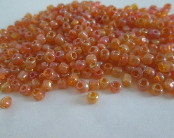 2oz (56gram) Round Glass Beads, Small Rainbow Orange Beads, 4mm Seed Beads, Transparent Orange Seed Beads, 6/0  Beads