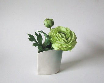 white with blush of green silky porcelain vase