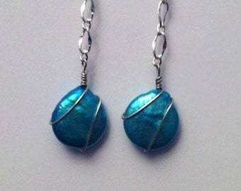 EARRINGS Fresh Water Turquoise PEARLS Sterling Ear Wires
