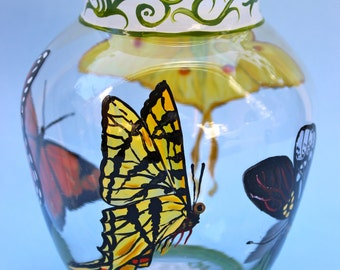 Hand Painted ~ Glass ~ Butterflies ~ Flourishes  ~ Vase ~ Hand Painted Butterfly & Flourish Vase ~ Butterfly Centerpiece ~