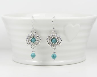 Handmade 925 Sterling Silver & Natural Turquoise Byzantine Chain Maille Earrings, Ear Wires, Ear Posts or Clip Ons, Valentines