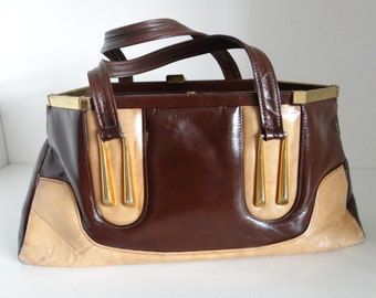Vintage Handbag in Rich Brown and Tan with Gold Hardware by P P Fougy, France - 1960's