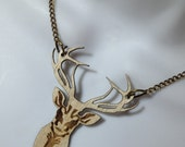 fabulous laser cut birchwood stags head necklace