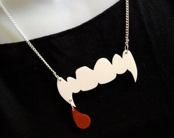 Vampire 'fangs' ...and a drop of blood.. Necklace