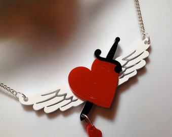 laser cut layered perspex tattoo style winged heart/dagger statement necklace