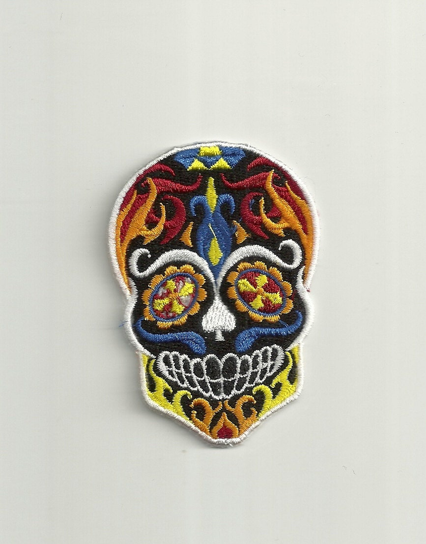 Flames Sugar Skull Patch Custom Made
