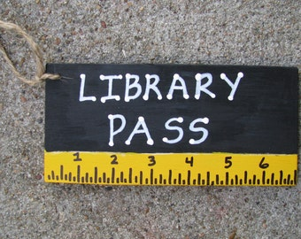 Teacher Gifts Library Pass Black with Ruler