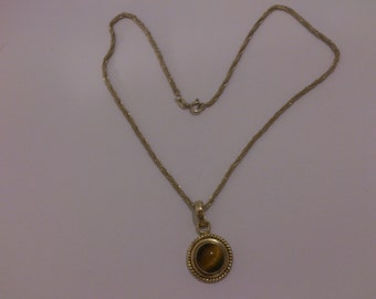 sterling silver Tigers eye pendant and chain