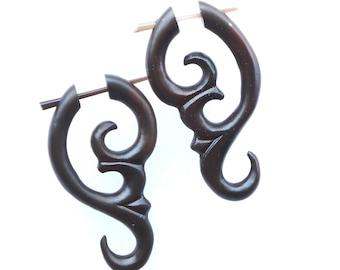 Belleza.Fake Gauges, Handmade, Wood Earrings, Cheaters, Organic, Plugs, Split, Tribal Style