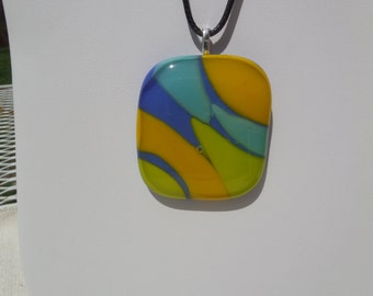 """Fused Stained Glass Exotic Bright Zebra Stripe Animal Print Gold, Blue, Teal, Lime Green Pendant  w/ Leather 18"""" Necklace ~ One of a Kind!"""