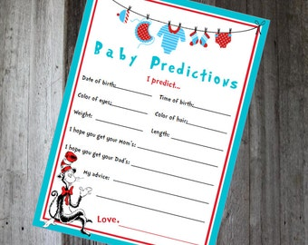 Baby Shower Predictions - Dr. Seuss - PRINTABLE INSTANT DOWNLOAD
