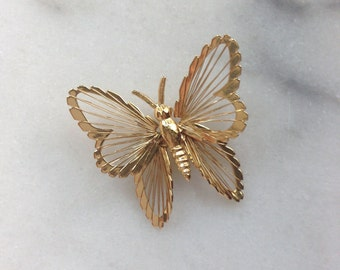 Vintage Gold Butterfly Wire Metal Brooch | Brooch | Vintage Brooch | Butterfly