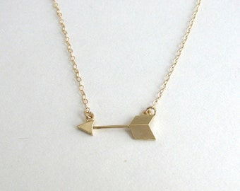 Small Gold Arrow Necklace, Arrow Bar Necklace, Delicate Gold Chain, Layering Necklace, Thin Gold Chain - 14K Gold Fill Chain