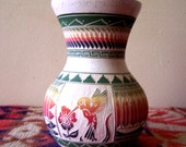 Navajo Indian Pottery Hand Etched Hummingbird Pot Signed W. Johnson Jr
