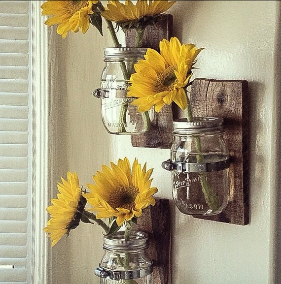 3 Country Style Wall Vases: Cottage Chic Mason Jar Hanging