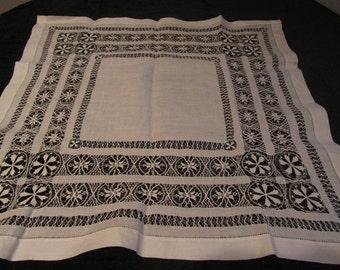 "antique  tablecloth, linen drawnwork, measures 28"" square"