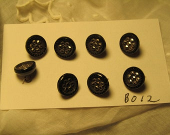 antique buttons, eight small black glass, steel cuts