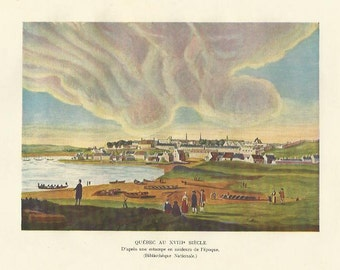 View of Quebec 18th eighteenth century color colour print 1929 Canada Home Decor Vintage Print Wall Art